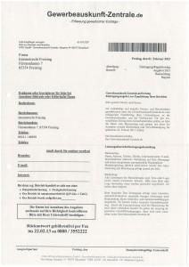 Gewerbeauskunft-Zentrale - Eintragungsformular